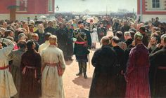 Aleksander III receiving rural district elders in the yard of Petrovsky Palace in Moscow. Oil on canvas. The State Tretyakov Gallery, Moscow. Ilya Repin, Russian Painting, Russian Art, Gravure, Emperor, Traditional Art, Traditional Paintings, Great Artists, Photos