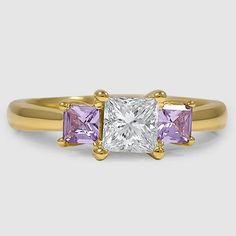 18K Yellow Gold Three Stone Princess Diamond Trellis Ring // Set with a 0.71 Carat, Princess, Super Ideal Cut, H Color, SI1 Clarity Diamond (Modified with Purple Sapphires) #BrilliantEarth