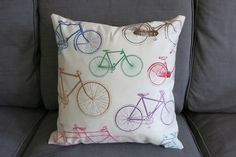 Vintage Multi-Colour Patterned Bicycle Cushion