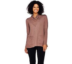 LOGO Lounge by Lori Goldstein French Terry Cowl Neck Top with Pockets