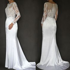 4ee5a7cc6cac Svatební šaty střihu mořská panna s dlouhým rukáve   Zboží prodejce Dyona