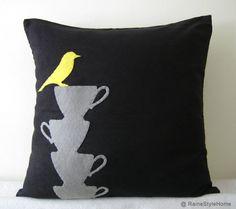 yellow bird, grey teacups pillow