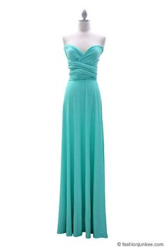 Multi Way Covertible Maxi Full Length Bridesmaid Dress-Mint - One dress/wear it so many different ways! Perfect for bridesmaids and weddings!
