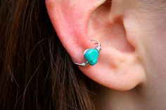 Turquoise Silver Ear Cuff Wire Wrapped by NovelDesigns on Etsy