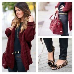 { red oversized cardi, black shirt, skinnies and leopard flats }