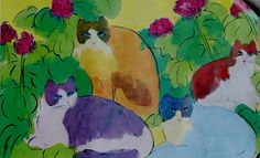 Walasse Ting 4 Cats Oversize Offset Litho Chinese Contemporary Art Poster 27x42 | eBay
