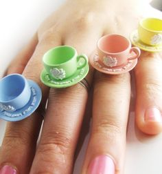 Shabby Pastel Rose - Teacup cutie ring