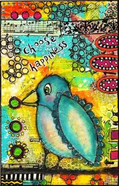 Pinning Prompt #2: Pin something handmade that is full of vibrant colors. One of my journal pages. www.thetingoat.blogspot.com