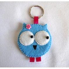Porte-clefs en feutrine, bleu et rose Chouette Lili