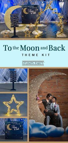 prom planning Light up the night with our To The Moon and Back theme kit! Complement your event with personalized twinkle twinkle favors, invitations, and more! Shop all of our twinkle twinkle party supplies to make your event complete! Event Themes, Wedding Themes, Formal Party Themes, Homecoming Themes, 8th Grade Dance, Starry Night Wedding, Starry Nights, Prom Decor, Reception Decorations