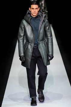 Emporio Armani Fall 2013 Menswear Fashion Show Vogue Paris, Anthony Gastelier, Emporio Armani, Giorgio Armani, Couture Coats, Fashion Show, Mens Fashion, Milan Fashion, Leather Fashion