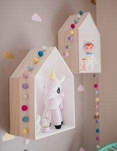 mommo design: HOUSES for kids room decoration. Room Ideas Bedroom, Girls Bedroom, Bedroom Wall, Kid Bedrooms, Bedroom Decor, Dollhouse Shelf, House Shelves, Box Shelves, Wall Shelves