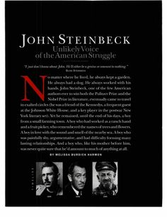John Steinbeck: Unlikely Voice of the American Struggle - Excellent biography article for note-taking