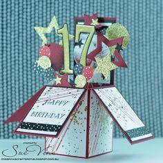 Miss Pinks Craft Spot: Masculine Birthday Card in a Box 18th Birthday Cards, Birthday Cards For Boys, Masculine Birthday Cards, Birthday Box, Handmade Birthday Cards, Masculine Cards, Boy Cards, Pop Up Cards, Kids Cards