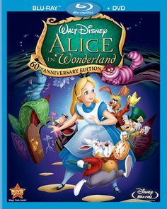 Alice In Wonderland (Two-Disc Anniversary Blu-ray/DVD Combo) - Walt Disney's Beloved Masterpiece Makes Its Breathtaking Blu-ray Debut! Experience the magic and majesty of Alice In Wonderland with the ultimate collector's dream. For the first tim Walt Disney, Disney Blu Ray, Disney Love, Disney Magic, Disney Movie Posters, Disney Films, Disney Characters, Disneyland Movies, Party Characters