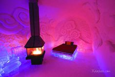 Located only 10 minutes from downtown Quebec City, Canada, the Hotel de Glace is America's only ice hotel entirely made of ice and snow.