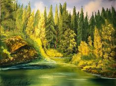 Landscape Paintings, Pond, Oil On Canvas, Lazy, Golf Courses, Colours, River, Fine Art, Outdoor