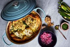 Turn whole roasted cauliflower into this creamy, cheesy open pie that the whole family will enjoy. Prepared in the Le Creuset Signature Oval Casserole. Whole Roasted Cauliflower, Cauliflower Cheese, Winter Warmers, Le Creuset, Paella, Hummus, Casserole, Pie, Ethnic Recipes