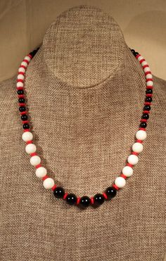 Black White and Red Necklace handmade jewelry by SpringHammock