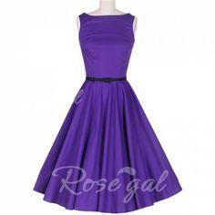 Vintage Scoop Neck Sleeveless Purple Pleated Dress For WomenVintage Dresses | RoseGal.com
