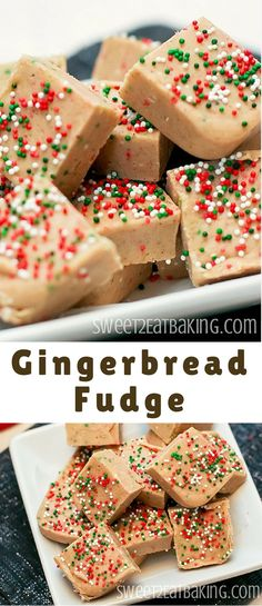 A quick and easy gingerbread fudge recipe. Perfectly spiced and festive, this gi. A quick and easy gingerbread fudge recipe. Perfectly spiced and festive, this gingerbread fudge is creamy and crunchy thanks to the festive Christmas sprinkles. Christmas Fudge, Christmas Sprinkles, Christmas Sweets, Christmas Candy, Christmas Goodies, Fudge Recipes, Candy Recipes, Dessert Recipes, Yummy Recipes