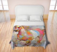 """Think about a duvet cover for the man in your life - for Father's Day. Settle in tonight with """"Smooth Runner II"""" from DianocheDesigns.com.  This equine art can be the essential ingredient in enhancing your man's comfort and style in his tranquil retreat. To find sheets, pillow cases, towels, etc. with running horses to match, click on https://www.dianochedesigns.com/shop/shop-by-product/duvet/animals/duvet-hooshang-khorasani-smooth-runner-ii.html?___SID=U. #beddingcollections"""