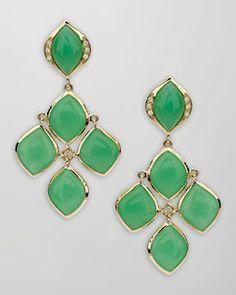 Elizabeth Showers Pave Diamond Chrysoprase Chandelier Earrings