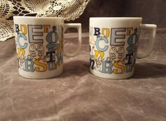 Check out this item in my Etsy shop https://www.etsy.com/listing/258749192/pair-of-porcelain-alphabet-mugs-blue-and
