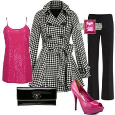 Houndstooth and Hot Pink, created by stefanie85