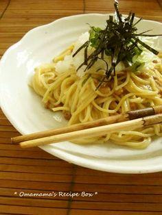 natto pasta with daikon 大根おろしのせ*納豆スパゲティー (natto, yolk, scallion, radish sprout)