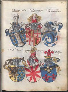 Grünenberg, Konrad: Das Wappenbuch Conrads von Grünenberg, Ritters und Bürgers zu Constanz - BSB Cgm 145, [S.l.], um 1480
