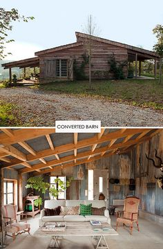 a converted barn in france. I have always wanted to live in a converted barn or an abandoned church! Casa Loft, Barn Living, Country Living, Living Room, Decoration Inspiration, Creative Inspiration, Pole Barn Homes, Cabins And Cottages, Metal Buildings