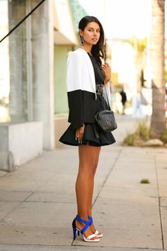 Peplum Top & Skirt + Cobalt Colorblock heels