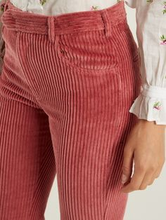 Isabel Marant Reo straight-leg corduroy cropped trousers
