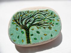 Windblown tree art brooch  hand painted by Alienstoatdesigns, 9.00