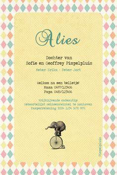 Geboortekaartje Alies - achterkant - Pimpelpluis - https://www.facebook.com/pages/Pimpelpluis/188675421305550?ref=hl (# meisje - olifant - fiets - pastel - circus - origineel)