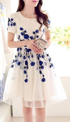 Embroidery Back Zipper Mid Waist Knee-Length Dress Women Summer Spring Casual Dress pretty romantic vintage chic in china blue and white perfect alice style cocktail dress , formal day wear for wedding or event or great date outfit Organza Dress, Lace Dress, Dress Up, Sheer Dress, Frill Dress, Mom Dress, Lace Maxi, Pretty Outfits, Pretty Dresses