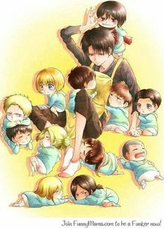 Attack on Titan - Levi would be the best baby-sitter ever, he'd just give the kids orders to clean *everything*