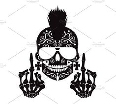 Skull Middle Finger Flip Off Graphics Svg Dxf Eps Png Cdr