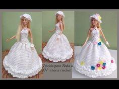 Vestido a crochet para Boda o XV años Barbie Knitting Patterns, Crochet Dolls Free Patterns, Barbie Clothes Patterns, Crochet Barbie Clothes, Crochet Doll Pattern, Clothing Patterns, Wedding Doll, Barbie Wedding, Barbie Gowns