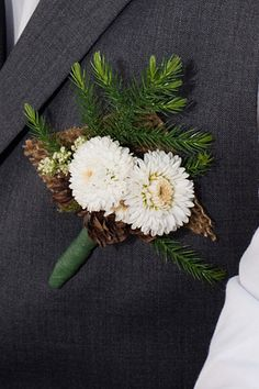 christmas wedding-I like the sprigs of pine. Winter Boutonniere, Rustic Boutonniere, Boutonnieres, Wedding Gifts For Men, Wedding Men, Christmas Wedding, Rustic Christmas, Winter Wedding Flowers, Winter Wonderland Wedding
