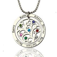 Personalized Sterling Silver Family Tree Birthstone Name Necklace Birthstone Jewelry Family Necklace Gift for Mother