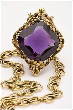 Art Nouveau. 18k Gold and Amethyst Necklace, Tiffany, c1900. by Ashjan89
