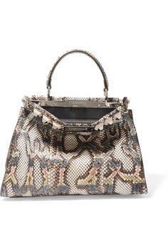 FENDI Peekaboo Medium Embellished Python Tote. #fendi #bags #shoulder bags #hand bags #tote #