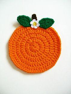 Crochet Orange Fruit Pot Holder Hot Pad Potholder Handmade Kitchen Kitchenwares Decor. $7,00, via Etsy.