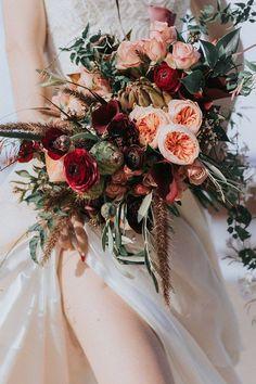 Wild boho burgundy, red and peach wedding bouquet Beach Wedding Flowers, Fall Wedding Bouquets, Flower Bouquet Wedding, Autumn Wedding, Red Wedding, Floral Wedding, Wedding Colors, Bridal Bouquets, Wedding Beach