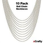 "10 PACK Bright Silver Ball Chain Necklaces 24"" 2.4mm DIY Jewelry Crafts"