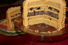 blueberry cake with lemon buttercream frosting. (I don't usually like things with lemon, but when mixed with blueberries I love it.)