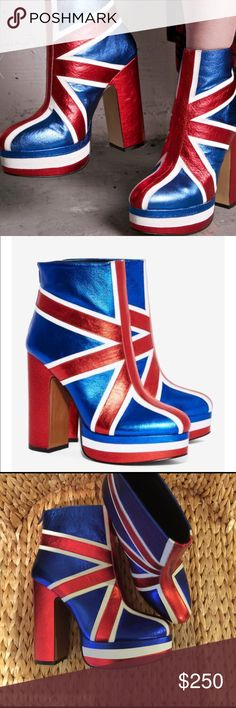 Union Jack Boots Shellys of London for NastyGal 40 Amazing Metallic Leather Union Jack Platform boots!!!! By Shellys of London purchased at Nasty Gal. I needed these the minute I saw them even though I can't wear them cause I can only wear flats:( I just had to touch them and see them in person!!! I may need to hang on to them for collective purposes... ok that sounded dumb once I said it😜? So if you can wear heels please!!! This is a no brainer!!!! Calling all my London ladies!!!!!!😘💋…