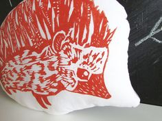 Plush Hedgehog Throw Pillow.  Hand Block Printed. by LauraFrisk, $24.00